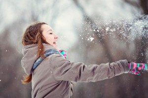 Teenage girl enjoying winter