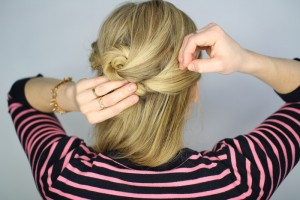Easy Knotted Updo Step 12