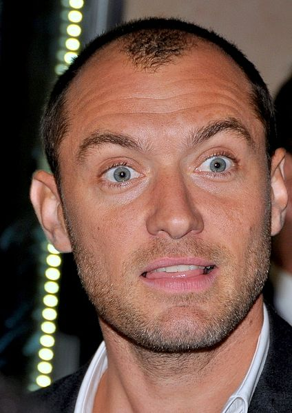 Jude Law showing his receeding hairline