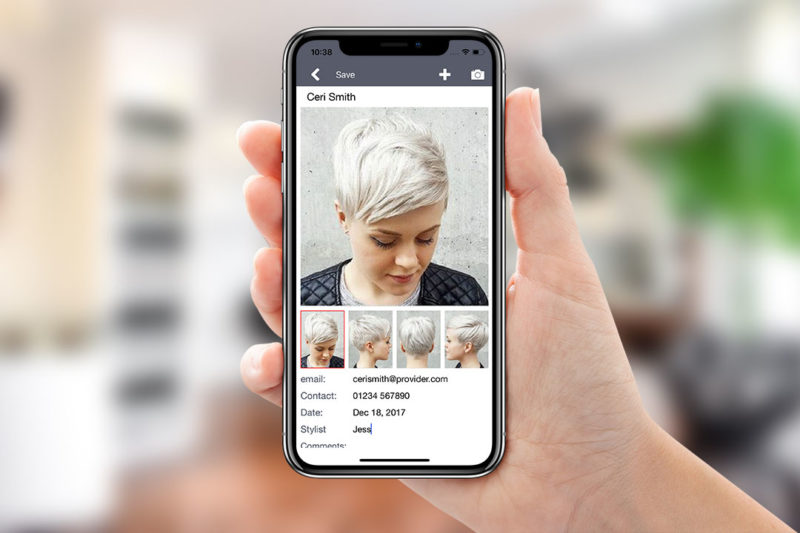 Stylogic hair style customer profile page on iPhone X.